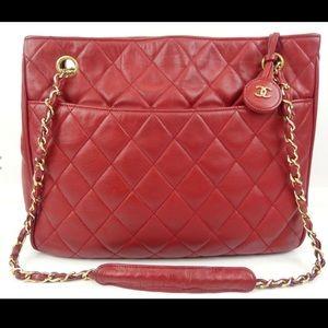 Chanel Quilted Lambskin Shopper Shoulder Bag